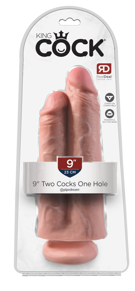 """05422100000 verp - King Cock 9"""" Two Cocks One Hole - Flesh"""